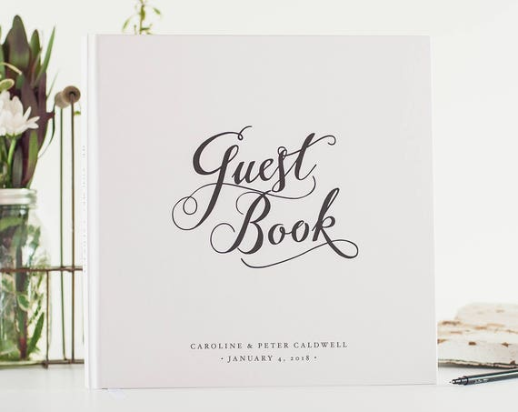 Wedding Guest Book black tie wedding guestbook sign in book photo booth book hardcover personalized guest book for wedding reception book