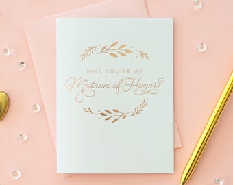 Rose Gold Foil Will You Be My Matron of Honor card matron of honor proposal bridesmaid invitation matron of honor gift bridesmaid box rose