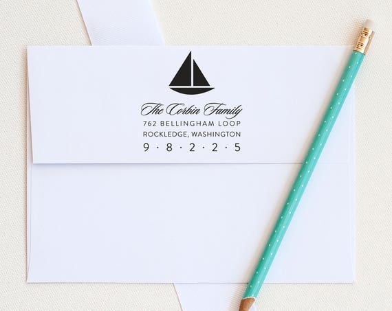 Boat Address Stamp, Custom Address Stamp, Return Address stamp, Nautical Address Stamp, Personalized stamp, Wedding Invitation stamp gift