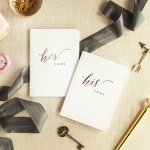 Personalized Wedding Vow Books Set of 2 Vow Books Rose Gold Wedding Vow Booklets His and Hers