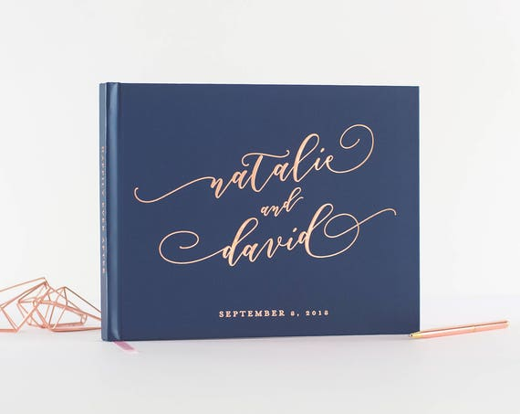 Wedding Guest Book wedding guestbook landscape horizontal Rose Gold Foil wedding book instant photo book personalized hardcover navy & rose