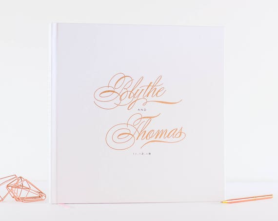 Rose Gold Foil Wedding Guest Book wedding guestbook custom 12x12 book personalized instant photo wedding gift sign in hardcover calligraphy