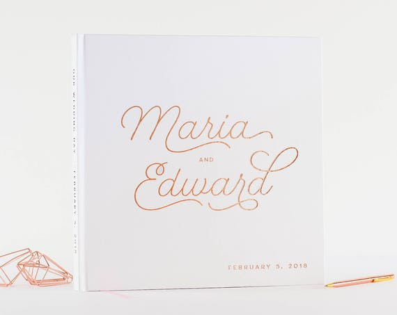 Wedding Guest Book with Real Rose Gold Foil wedding guestbook custom wedding book instant photo book wedding gift signin hardcover guestbook
