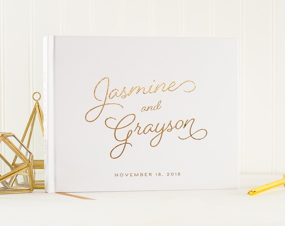 Wedding Guest Book Gold Foil landscape horizontal wedding guestbook gold foil wedding book sign in book personalized names photo guest book