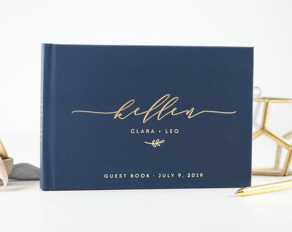 Wedding Guest Book wedding guestbook Navy and Gold wedding sign in book custom guest book gold wedding album photo guest book ideas planner
