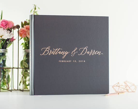 Wedding Guest Book with Rose Gold Foil wedding guestbook 12x12 wedding photo book instant photo booth book wedding sign in book rose gold