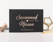 Wedding Guest Book rose gold wedding guestbook horizontal wedding book Rose Gold wedding guestbook personalized names instant photo booth