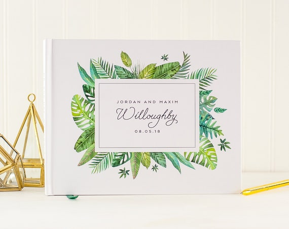 Greenery Wedding Guestbook, Wedding Guest Book with Tropical Leaves, Guest Book for Destination Wedding, Hawaii Wedding Guest Book Custom