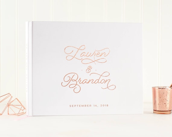 rose gold wedding guest book, wedding guestbook, rose gold foil guest book, guest sign in, custom, personalized, journal, book for wedding