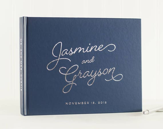 Wedding Guest Book with Silver Foil landscape horizontal wedding book wedding guestbook sign in book personalized names photo guest book
