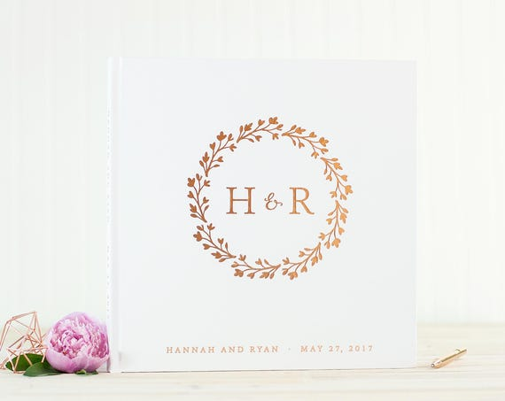 Wedding Guest Book with Rose Gold Foil guestbook 12x12 wedding photo book monogram wreath personalized instant photo wedding gift hardcover