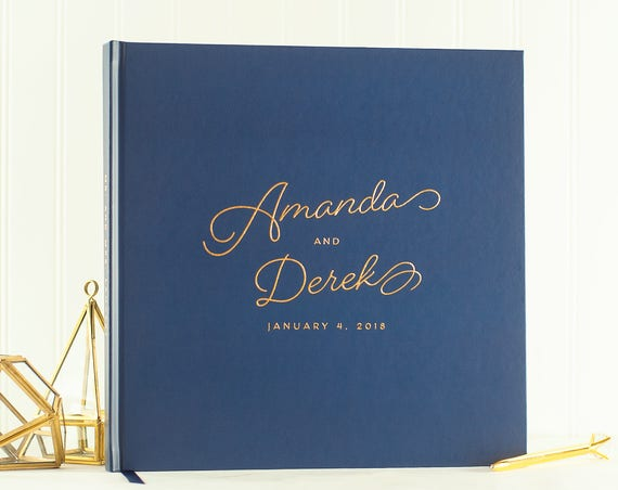 Wedding Guest Book Gold Foil wedding guestbook navy and gold guest book photo guest book wedding photo book wedding planner book modern