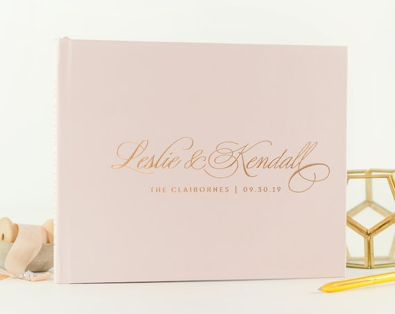 Blush Pink Wedding Guest Book, Wedding Guestbook Rose Gold, Personalized Guest Book with Custom Names Photo Guest Book with Calligraphy