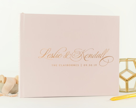 Rose Gold Foil Wedding Guest Book, Wedding Guestbook Modern Guest Book, Guestbook Wedding Personalized Guest Book Wedding Photo Album Pink