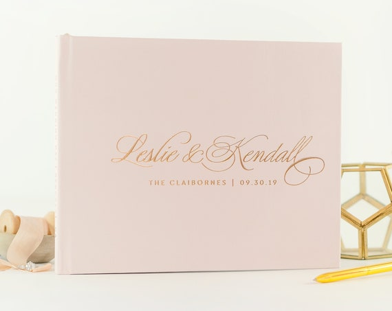 Rose Gold Foil Wedding Guest Book wedding guestbook blush and rose gold custom guest book wedding photo book guest book wedding planner book
