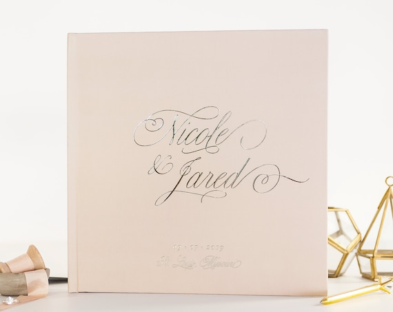 Wedding Guest Book Silver Foil wedding guestbook guest sign in personalized instant photo book photo booth book wedding gift taupe guestbook