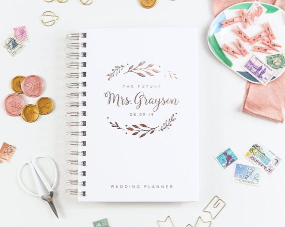Wedding Planner and Calendar, Wedding Planner Book Rose Gold, Custom Wedding Planner with Personalized Names Wedding Planning Book for Bride