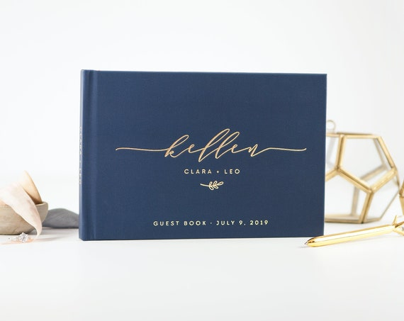 Navy and Gold Wedding Guest Book wedding guestbook wedding sign in book custom guest book gold wedding album photo guest book ideas planner