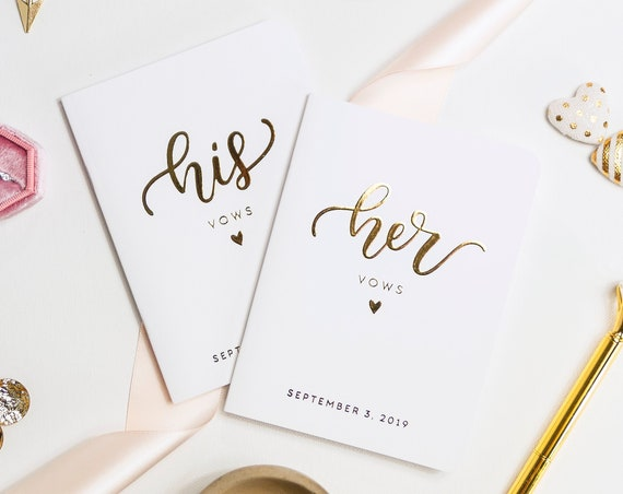 Vow Book Wedding Vow Books Personalized Wedding Vow Books Gold Foil Vow Book Wedding Vow Card Vow Booklet Personalized Vows keepsake gift