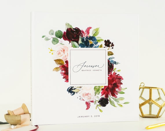 Burgundy Floral Wedding Guest Book wedding guestbook wedding guest book personalized wedding book Photo Guestbook Custom Guest book Album
