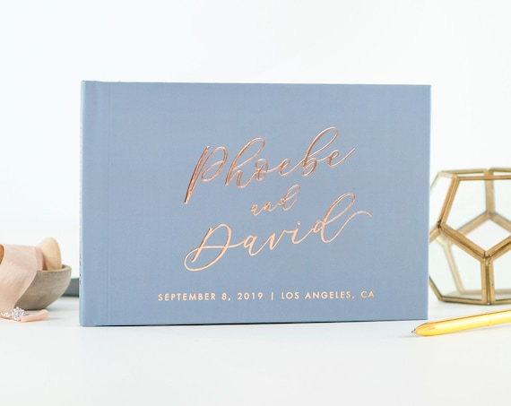 Wedding Guest Book Rose Gold Foil landscape guestbook modern guest book wedding guestbook rustic guest book dusty blue wedding photo book