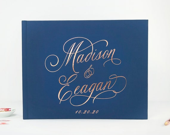 Wedding Guest Book Wedding Guestbook Navy Rose Gold Elegant Guest Book Wedding Ideas Guest Sign in Book Custom Guest Book Photo Guestbook