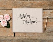 Wedding Guest Book horizontal landscape rustic kraft guestbook wedding guest sign in photo booth hardcover personalized wedding planner book