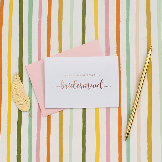 Rose Gold Foil Thank You For Being My Bridesmaid card bridal party gifts bridesmaid thank you gift house party will you be my bridesmaid box
