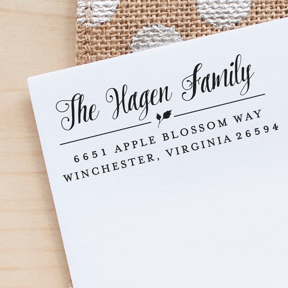 Leaf Address Stamp, Return Address Stamp, Rubber stamp, Personalized Address Stamp, Calligraphy Address Stamp, Custom Address Stamp gift eco