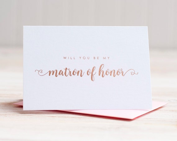 Will You Be My Matron of Honor Card Rose Gold Foil ask matron of honor proposal gift box wedding party card matron of honor invitation pink