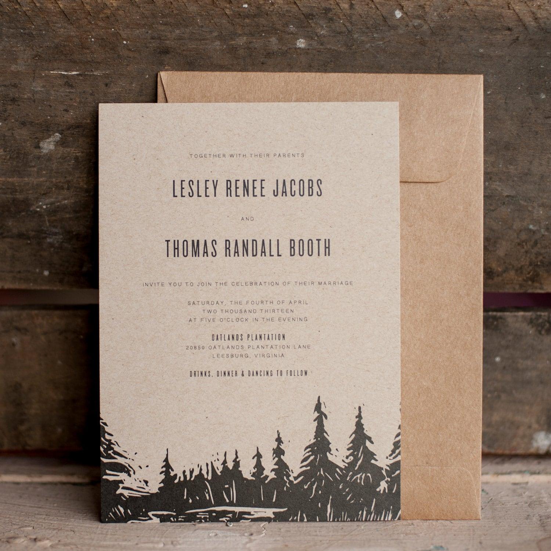 Wedding Invitations Eco Friendly: Rustic Wedding Invitation, Tree Wedding Invitation