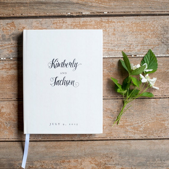Wedding Guest Book Wedding Guestbook Custom Guest Book Personalized wedding book custom wedding gift keepsake calligraphy black lined pages