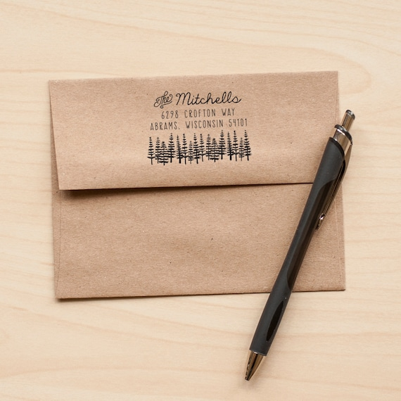 Tree address stamp, return address rubber stamp, stationery address stamp, return address stamp calligraphy, wedding return address stamp