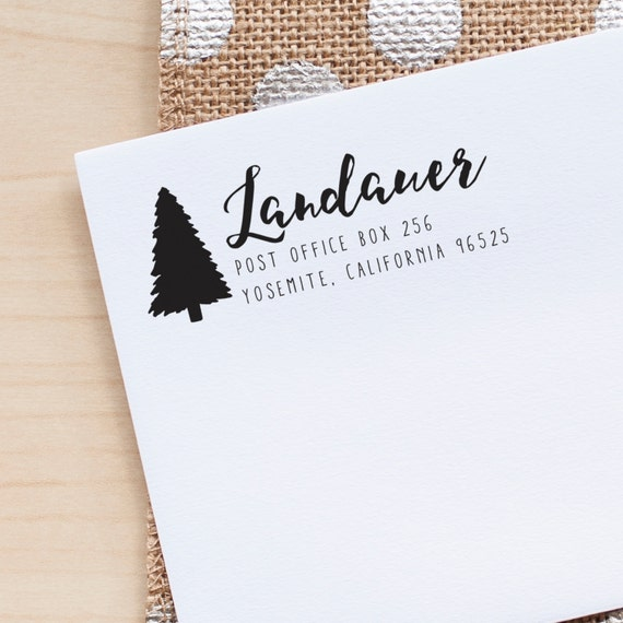 Return Address stamp, Tree Address Stamp, Wedding Address Stamp, Custom Rubber Stamp, rustic address stamp, Evergreen Tree Stamp, eco gift