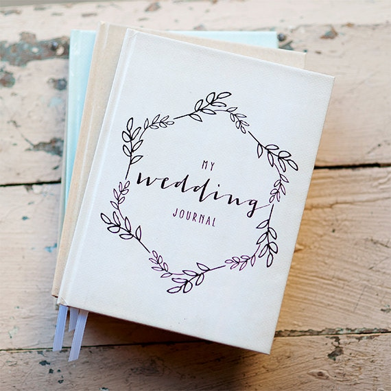 Wedding Journal Notebook Wedding Planner Personalized Customized bridal shower guest book custom design calligraphy keepsake gift for bride