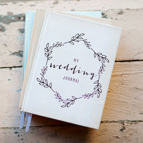 Wedding Journal Notebook, Wedding Planner Personalized Customized bridal shower guest book custom design calligraphy keepsake gift for bride