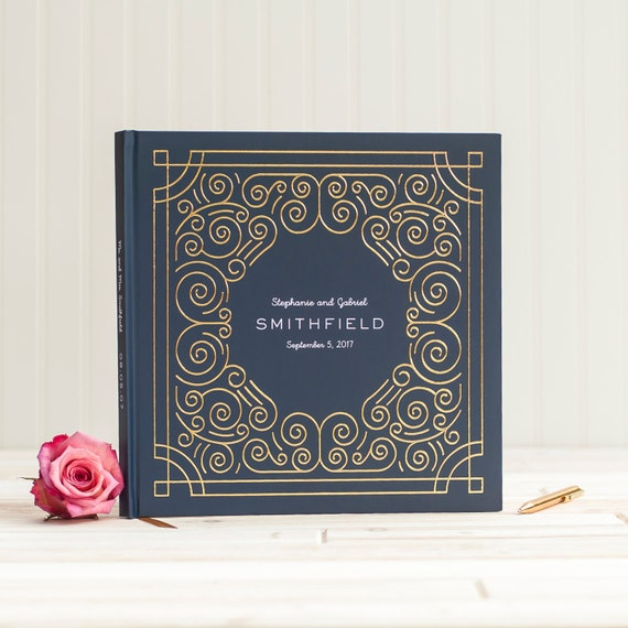 Wedding Guest Book with Real Gold Foil guestbook wedding photo book personalized instant photo wedding sign in book hardcover navy and gold
