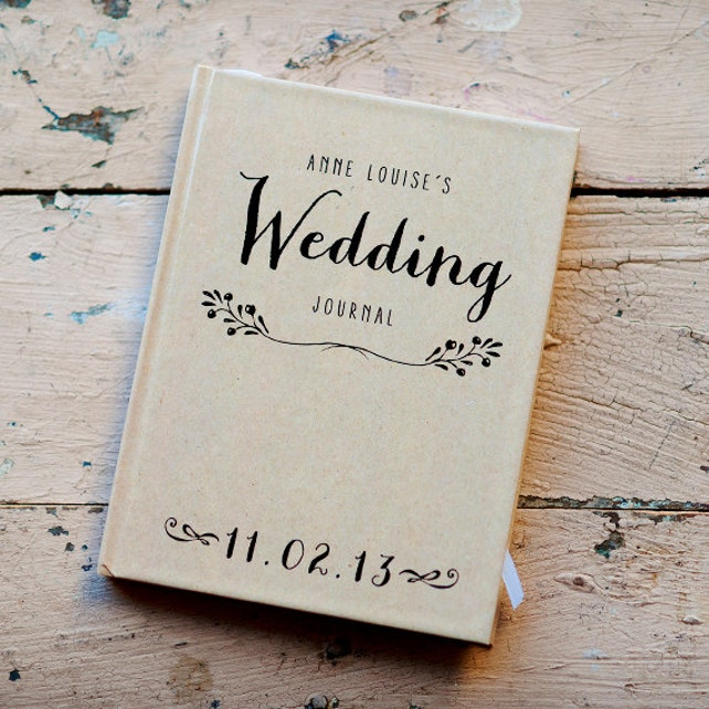 Wedding Journal, Notebook, Wedding Planner - Personalized, custom wedding book gift for bride rustic wedding bridal shower guest book kraft