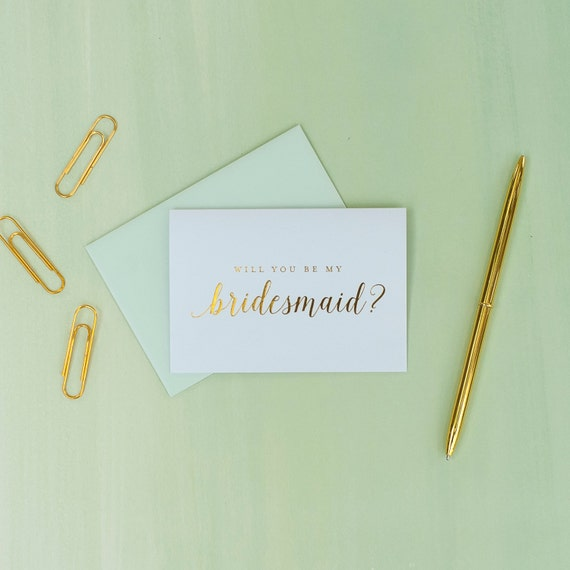 Gold Foil Will You Be My Bridesmaid card bridesmaid proposal bridal party gift bridesmaid gift wedding party card gold and mint wedding foil