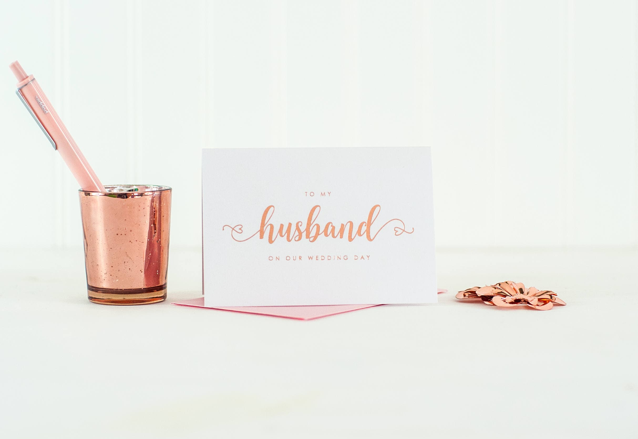 To My Husband On Our Wedding Day Card Rose Gold Foil To My Groom