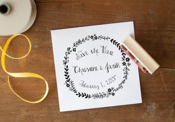 Save the Date stamp, wedding favor stamp, wedding favors, custom stamp, save the date, wreath stamp,  monogram stamp, rustic wedding stamp