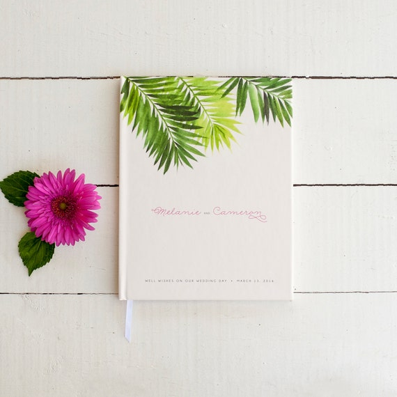 Wedding Guest Book Wedding Guestbook Custom Guest Book Personalized Customized beach design wedding gift hawaii wedding modern tropical palm