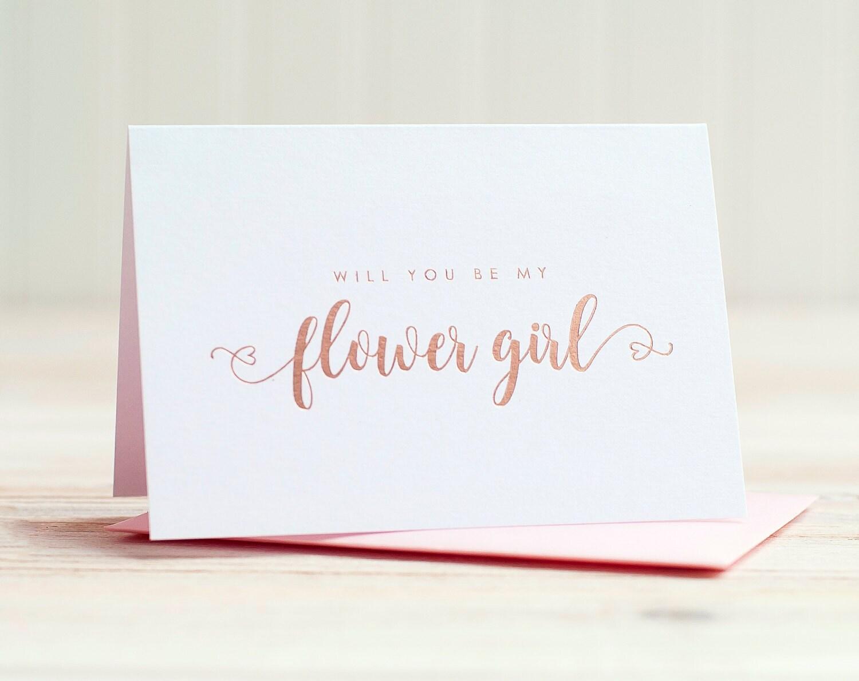 will you be my flower girl card rose gold foil ask flower girl