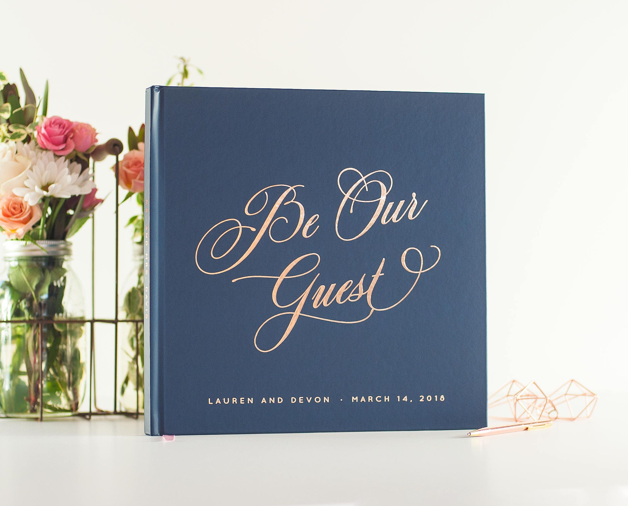 Wedding Guest Book Rose Gold Foil Wedding Guestbook Be Our