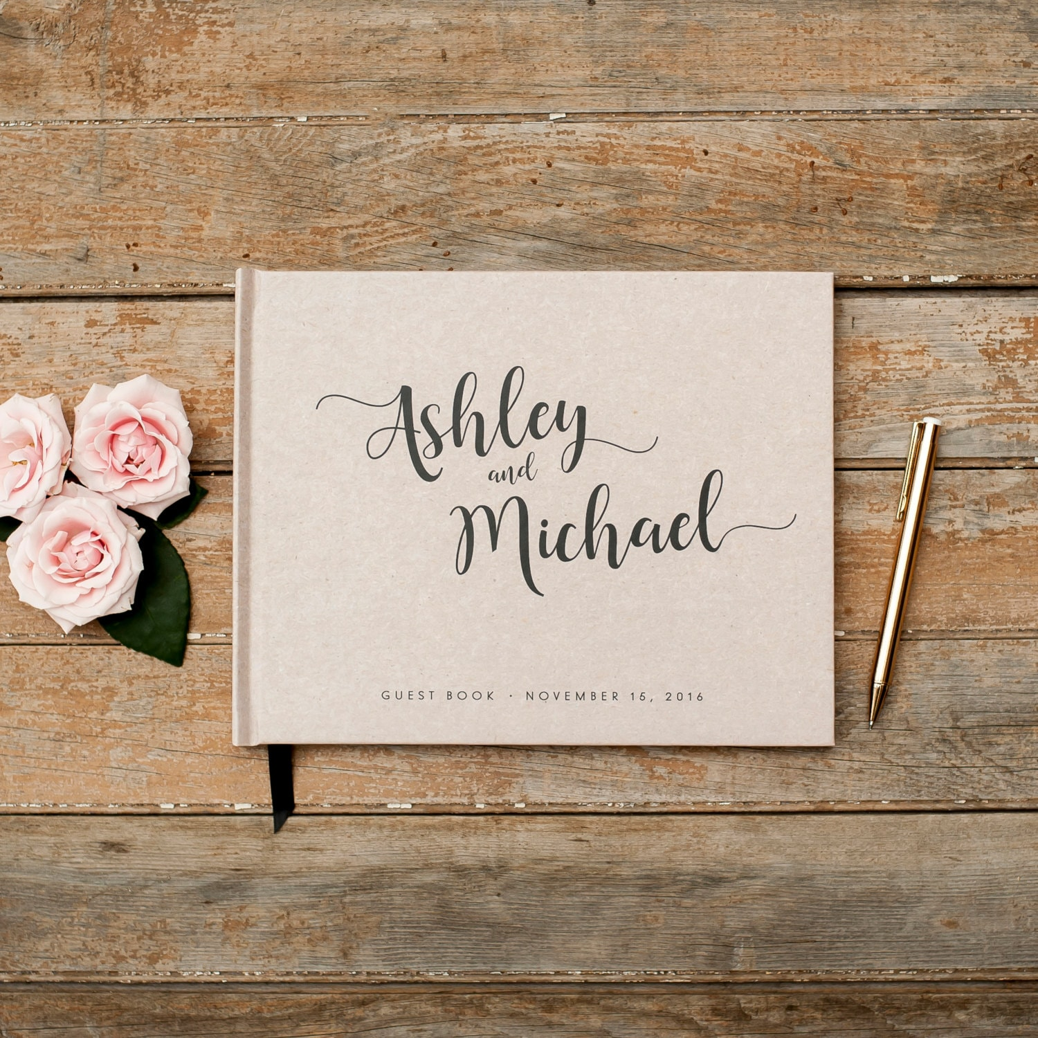 Wedding Guest Book horizontal landscape guestbook sign in book photo ...