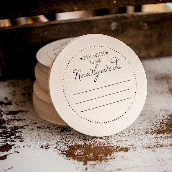 Wedding Advice Coasters - wish for the newlyweds, weddings, coasters, favors, bridal shower, bridal favors set of 50