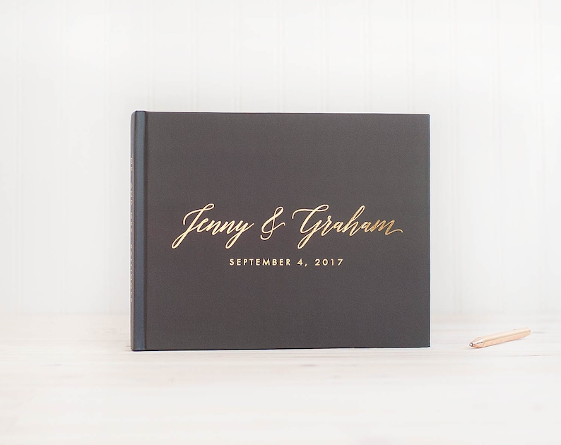 Wedding Guest Book landscape horizontal wedding book with Real image 0