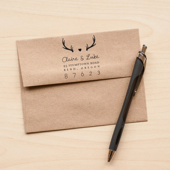Antlers Address Stamp, Personalized Return Address stamp, Personalized Wedding stamp, rustic wedding stamp, personalized gift, rubber stamp