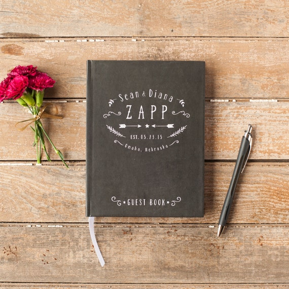 Wedding Guest Book Wedding Guestbook Custom Guest Book personalized rustic wedding guest book keepsake wedding gift cabin wedding chalkboard