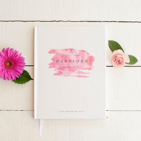 Wedding Guest Book Wedding Guestbook Custom Guest Book Personalized custom wedding gift keepsake rustic modern wedding gift blush watercolor